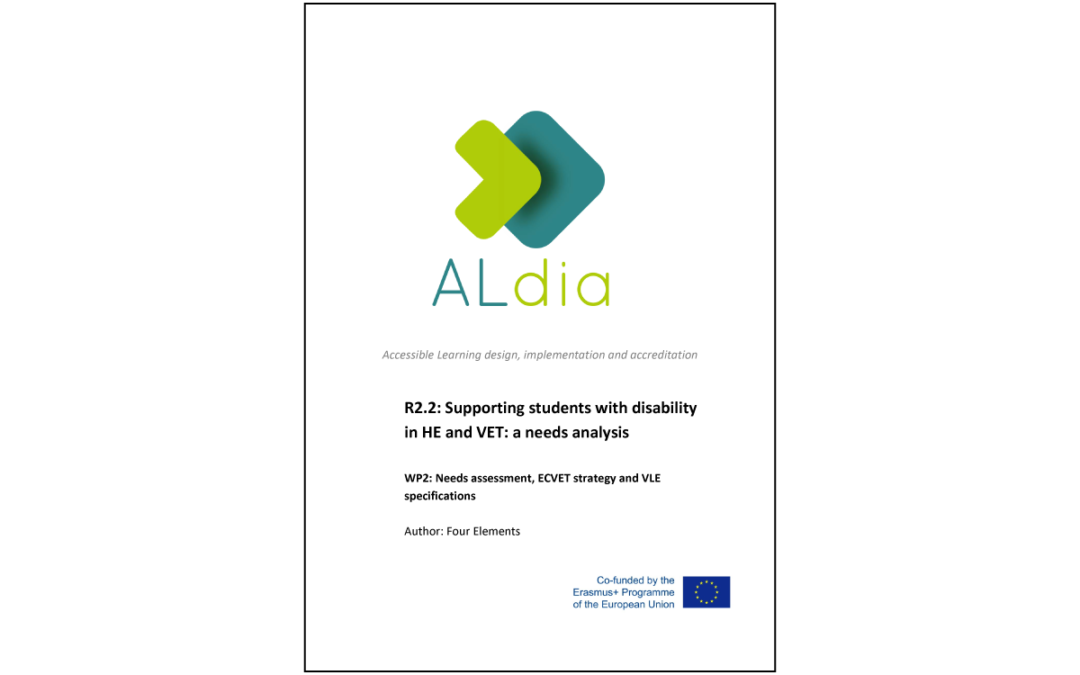 ALdia – Supporting students with disability in HE and VET: Analisi dei bisogni