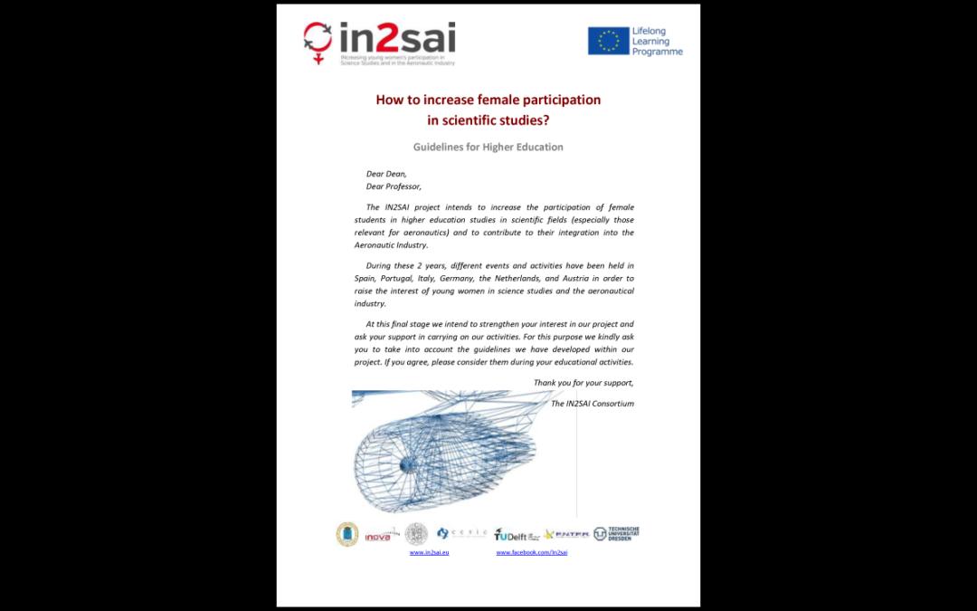 IN2SAI – Linee guida per suscitare l'interesse delle studentesse negli studi scientifici