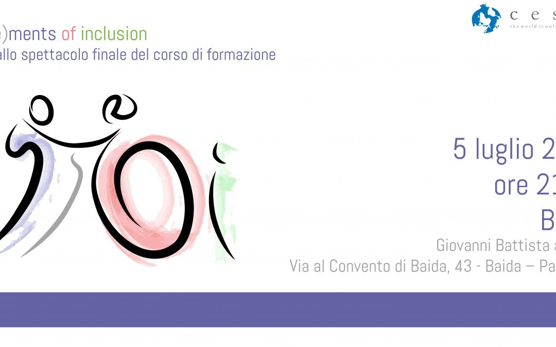 Invito allo spettacolo finale del corso di formazione Mo(ve)ments of Inclusion