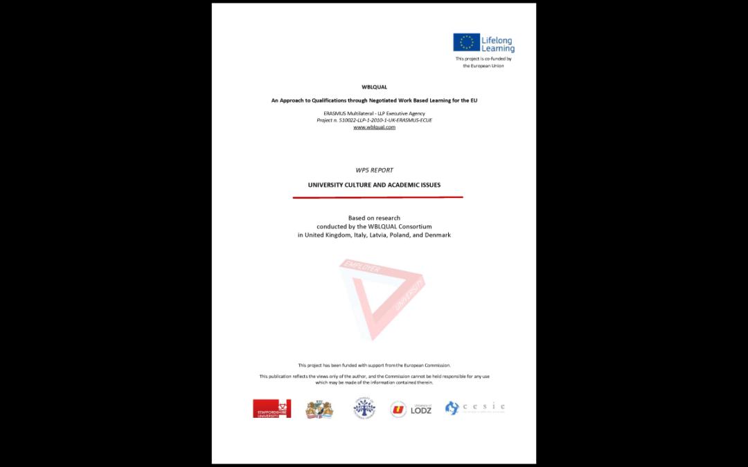 Rapporto comparativo – Cultura universitaria e questioni accademiche